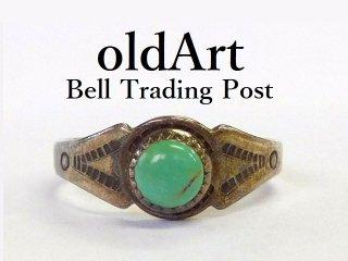 ヴィンテージ1950年代BELL TRADING POSTベルトレーディング社製ナバホインディアンターコイズシルバーリング指輪11.5号【M-12540】