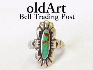 ヴィンテージ1950年代BELL TRADING POSTベルトレーディング社製ナバホインディアンターコイズシルバーリング指輪9号【M-12544】