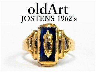 1962年代USAヴィンテージJOSTENSジャスティン社製10金無垢カレッジリング指輪11号【M-12548】