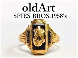 ビンテージ1958年代SPIES BROS社製キリスト聖母マリア10金無垢オニキスカレッジリング指輪11号10Kゴールド【M-12549】