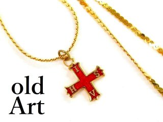 ヴィンテージフリーメイソンMasonry Conclave Of The Red Cross Of Constantineレッドクロス十字架ペンダントネックレス【M-12561】