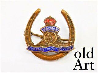英国イギリス製アンティーク1910年代WW1当時物イギリス陸軍馬蹄鉄アールデコ七宝焼ブローチ【M-12555】