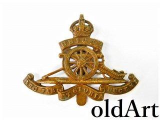 英国イギリス製アンティーク1910年代WW1当時物イギリス陸軍アールデコ真鍮クリップブローチ【M-12556】