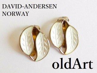 北欧ノルウェー製1940-50年代David Andersen七宝焼エナメル装飾シルバー銀製リーフクリップイヤリング【M-12629】