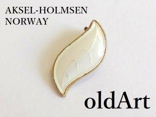 北欧ノルウェー製1950年代Aksel Holmsen七宝焼エナメル装飾シルバー銀製リーフクリップイヤリング片耳【M-12626】