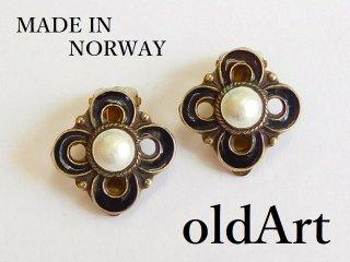 北欧ノルウェー製1940-50年代七宝焼エナメル装飾シルバー銀製花クリップイヤリング【M-12582】
