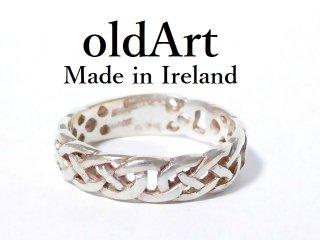 アイルランド製アイリッシュケルト模様シルバー製メンズリング指輪21.5号【M-12567】