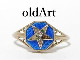 アンティーク1920年代フリーメイソンイースタンスター逆五芒星10金無垢ホワイトゴールドリング指輪9.5号10K【M-12599】