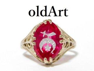 アンティーク1920年代フリーメイソンシュライナー14金無垢ホワイトゴールドリング指輪5号14K【M-12612】