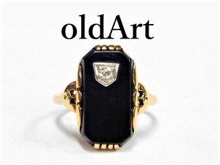 USA製1930年代アールデコアンティークHelm&Hahn Co.10金無垢ダイヤモンドオニキスレディースリング指輪8.8号10Kゴールド【M-12572】