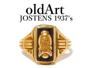 1937年代ヴィンテージJOSTENSジャスティン社製10金無垢カレッジリング指輪12号【M-12608】