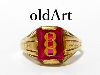 アンティーク1930年代FLTオッドフェローズ三連鎖本物の10金無垢リング指輪23号10K【M-12610】