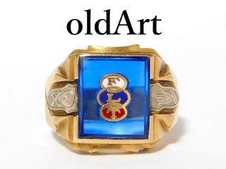 ビンテージ1950年代オッドフェローズFLTスカル10金無垢サファイアメンズリング指輪21.5号【M-12604】