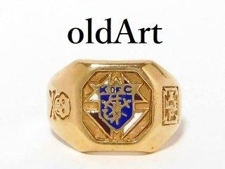 ビンテージKofCコロンブス騎士会重厚10金無垢メンズリング指輪19.5号10Kゴールド【M-12605】