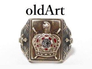 ビンテージ1940年代フリーメイソンDe Molayテンプル騎士団STERLINGシルバーメンズリング指輪20号【M-12609】