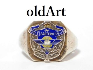 1950年代ビンテージUSA製BIBLE EASTERN COLLEGEシルバー製重厚メンズカレッジリング指輪19号【M-12601】
