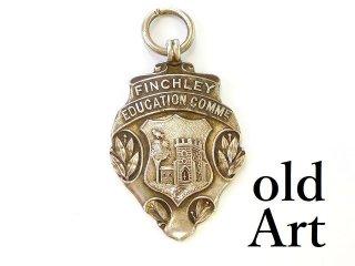 英国製1909年エドワーディアンアンティークバーミンガムR&D彫刻シルバー銀製ペンダント【M-12696】