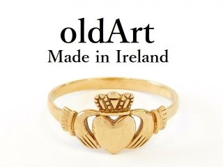 アイルランド製K.T.S社伝統的な指輪クラダリング9金無垢20号ホールマーク9ctゴールド刻印【M-12685】