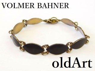 北欧ノルウェー製1950年代Vollmer Bahner七宝焼エナメル装飾シルバー銀製ブレスレット【M-12687】