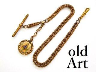 アンティーク1880-1910年代フリーメイソンフォブ付き金張りエナメル七宝焼懐中時計チェーン鎖【M-12675】