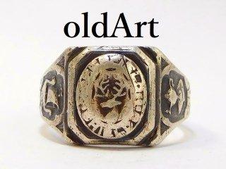 1933年代USA製ヴィンテージ彫刻シグネットシルバーメンズカレッジリング指輪16号【M-12754】
