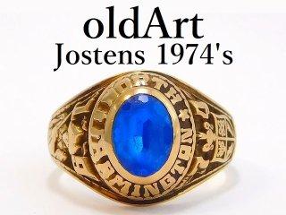 1974年代USAヴィンテージJOSTENSジャスティン社製10金無垢カレッジリング指輪14号【M-12757】