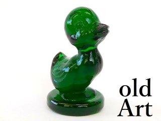 1980年代アメリカBoyd Glassオールドボイドアヒルアートガラス置物オブジェ/グリーン【M-12824】