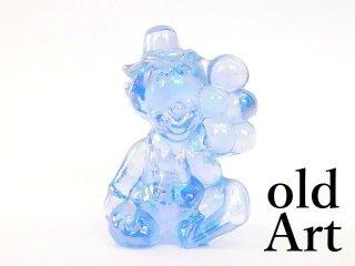 1980年代アメリカBoyd Glassオールドボイドピエロアートガラス置物オブジェ/ライトブルー【M-12829】