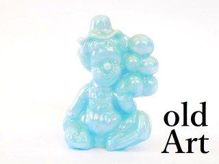 1980年代アメリカBoyd Glassオールドボイドピエロアートガラス置物オブジェ/パールライトブルー【M-12837】