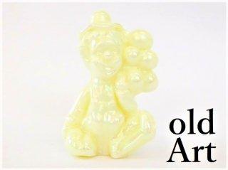1980年代アメリカBoyd Glassオールドボイドピエロアートガラス置物オブジェ/パールイエロー【M-12839】