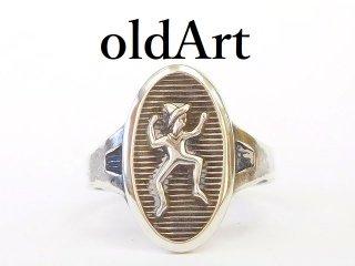 ヴィンテージ1940年代USA製ガールスカウトアジャスター式シルバーリング指輪11.5号【M-12859】