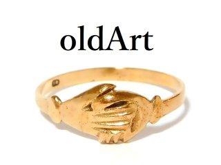 英国製イギリス1979年ヴィンテージ握手シェイクハンドリング指輪10号9金無垢/9ctゴールド【M-12639】