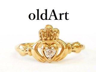 アイルランド伝統的な指輪JCM社製クラダリングダイヤモンド10金無垢/10Kゴールド13.7号【M-12683】