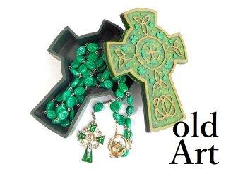 アイルランド伝統的ビンテージCladdaghクラダシャムロックケルト十字架ロザリオネックレス【M-12791】