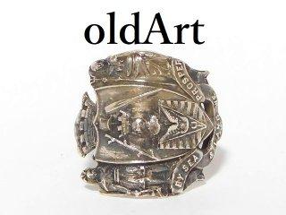 アンティーク1900年代初頭重厚カナダバンクーバー紋章シルバー銀製スプーンリング指輪25号【M-12613】