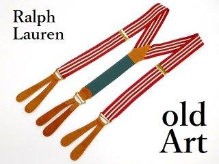 USA製Polo Ralph Laurenラルフローレンメンズボタン留め本革サスペンダー/ストライプ赤白【M-12863】