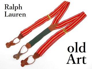 USA製Polo Ralph Laurenラルフローレン伸縮素材メンズボタン留め本革サスペンダー/ストライプ【M-12865】