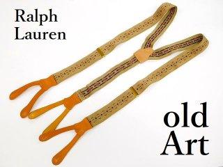 USA製Polo Ralph Laurenラルフローレン伸縮素材メンズボタン留め本革サスペンダー訳有【M-12868】