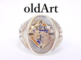 ヴィンテージ1950年代KofCナイトオブコロンブス騎士会シルバー製メンズミリタリーリング指輪13号【M-12888】