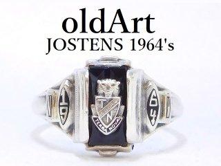 1964年代ビンテージジャスティン/JOSTENS社シルバー製メンズカレッジリング指輪14号【M-12889】
