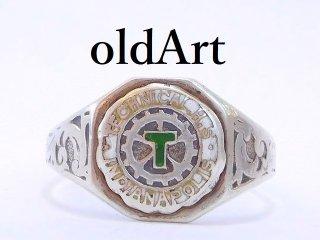 USA製ビンテージ TECHNICAL.H.Sスターリングシルバー製七宝焼カレッジリング指輪14号【M-12891】