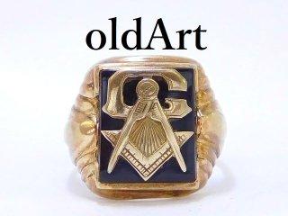 ヴィンテージ1950年代フリーメイソンG本物10金無垢オニキスメンズリング指輪22号10Kゴールド【M-12895】