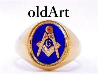 英国イギリス製フリーメイソン9金無垢/9ctゴールド回転式ギミックメンズリング指輪20.8号【M-12896】