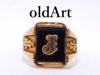 USA製1950-60年代ヴィンテージイニシャルJ10金無垢オニキスメンズリング指輪16号10Kゴールド【M-12903】