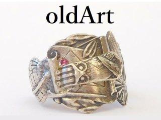 アンティーク1900年代初頭フリーメイソンフクロウシルバー製10金無垢装飾スプーンリング指輪14号【M-12920】