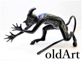 デッドストック1970年代ロシア製ソビエト旧ソ連ビンテージ悪魔デビル鉄製アイアンオーナメントエンブレムオブジェ置物【M-12914】