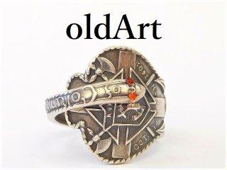 アンティークKofCコロンブス騎士会スカルシルバー製スネーク蛇スプーンリング指輪14.5号【M-12919】