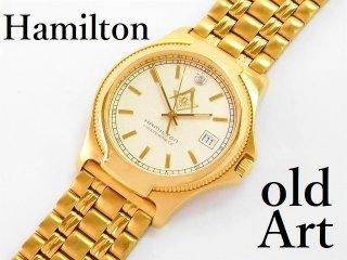 1970年代フリーメイソン会員限定ハミルトンHAMILTONダイヤモンド装飾クォーツ式メンズウォッチ腕時計【M-12947】