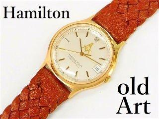 1970年代フリーメイソン会員限定ハミルトンHAMILTONダイヤモンド装飾クォーツ式メンズウォッチ腕時計本革ベルト【M-12948】