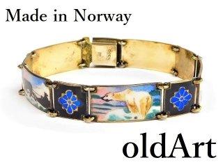 北欧ノルウェー製1940-50年代Gustav Hellstrom七宝焼エナメル装飾シルバー銀製ブレスレット【M-12956】